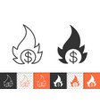 money fire simple black line icon vector image vector image