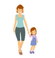 mother and daughter walking outside vector image