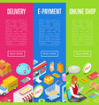 online shopping and e-payment isometric 3d posters vector image vector image