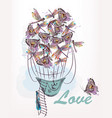 or card with air balloon created from dragonfly vector image vector image
