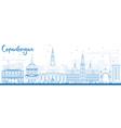 Outline Copenhagen Skyline with Blue Landmarks vector image vector image