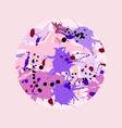 pink maroon purple lilac ink splashes round frame vector image vector image