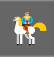 prince on white horse and smartphone kings son on vector image vector image