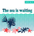 sea background with lion fish vector image vector image