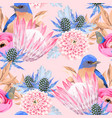 seamless pattern with protea and birds vector image vector image