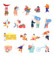 set tiny characters in different situations vector image