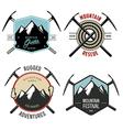 set vintage mountain explorer labels and badges vector image vector image