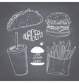Sketched chalk style fast food set with burger vector image vector image