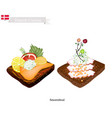 smorrebrod with seafood the national dish of denm vector image vector image