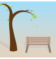 Spring tree with bench vector image
