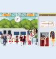 train station busy scene people in rush waiting vector image