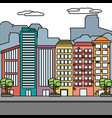 urban buildings cartoon vector image
