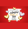 valentine day sale gold heart glitter poster vector image vector image