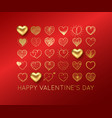 valentines day background with gold heart vector image