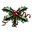 vintage christmas holly vector image vector image