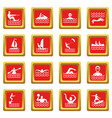 water sport icons set red vector image vector image