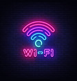 wifi neon sign wifi symbol neon glowing vector image