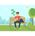 young man sitting in street and texting vector image vector image
