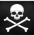 Human evil skull on black background vector image