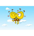 bee in love kissing - cute vector image vector image