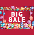 big sale poster on red background with flying vector image vector image