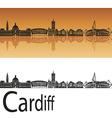cardiff skyline in orange background vector image vector image