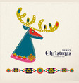 christmas and new year scandinavian deer card vector image