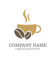coffee cup drink company logo vector image