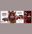 collection meat cards posters labels vector image vector image