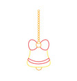color line bell with ribbon bow hanging to merry vector image