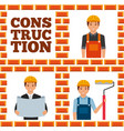 construction workers lettering set vector image vector image