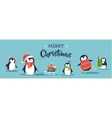 Cute penguins banner - Merry Christmas greetings vector image