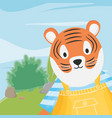 cute tiger with overalls and striped shirt fantasy vector image