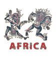 dancing africans aborigines in masks vector image vector image