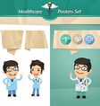 doctors with speech bubbles vector image vector image