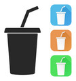 drink with straw colored icons vector image