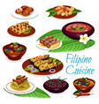 filipino dishes with meat seafood fruit pastry vector image vector image