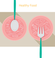 Food linear icons set on dish with spoon and fork vector image vector image