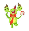 Funny Monster At Birthday Party With Bow Tie And vector image vector image