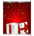 Gift box red background vector image vector image