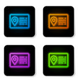 glowing neon address book line icon isolated on vector image