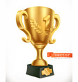 gold cup reward first place 3d icon vector image vector image