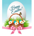 happy easter background colorful eggs and basket vector image
