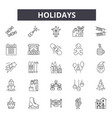holidays line icons signs set outline vector image vector image