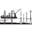 installation vessel build wind farm in the sea vector image vector image