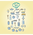 kitchen food colored icon vector image vector image