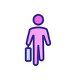 moving man with working suitcase front view icon vector image vector image