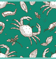 oceanic crab king shrimp octopus tentacle and vector image vector image