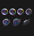 realistic soap bubbles explosion stages vector image