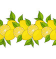seamless border yellow lemons and leaves endless vector image vector image